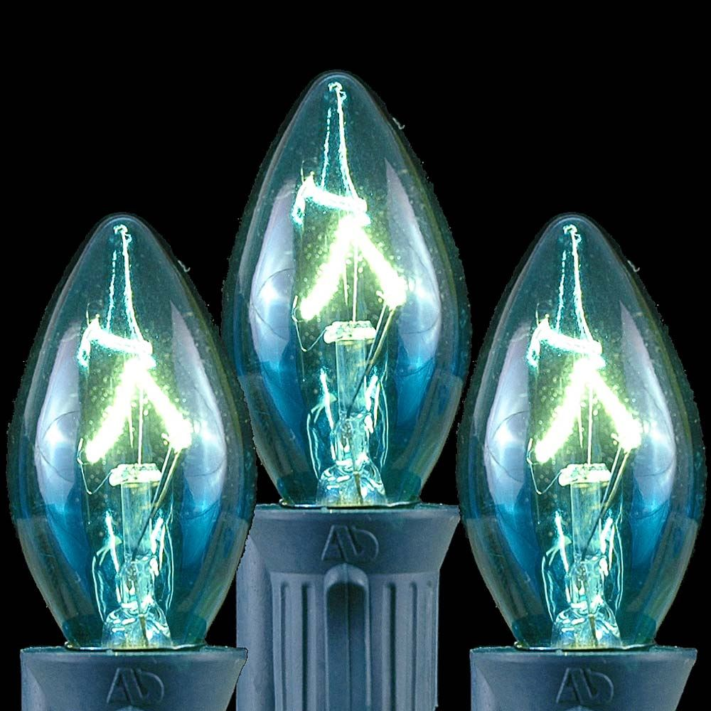 Picture of Teal Transparent C7 5 Watt Bulbs