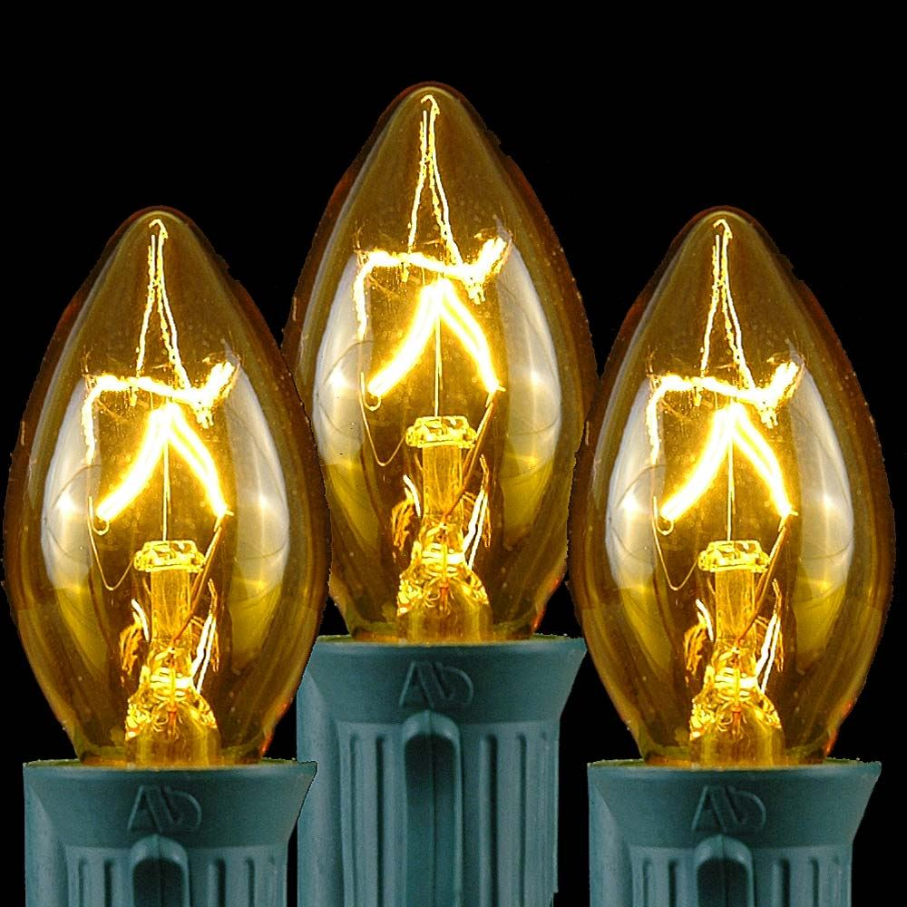 Picture of Yellow Transparent C7 5 Watt Bulbs
