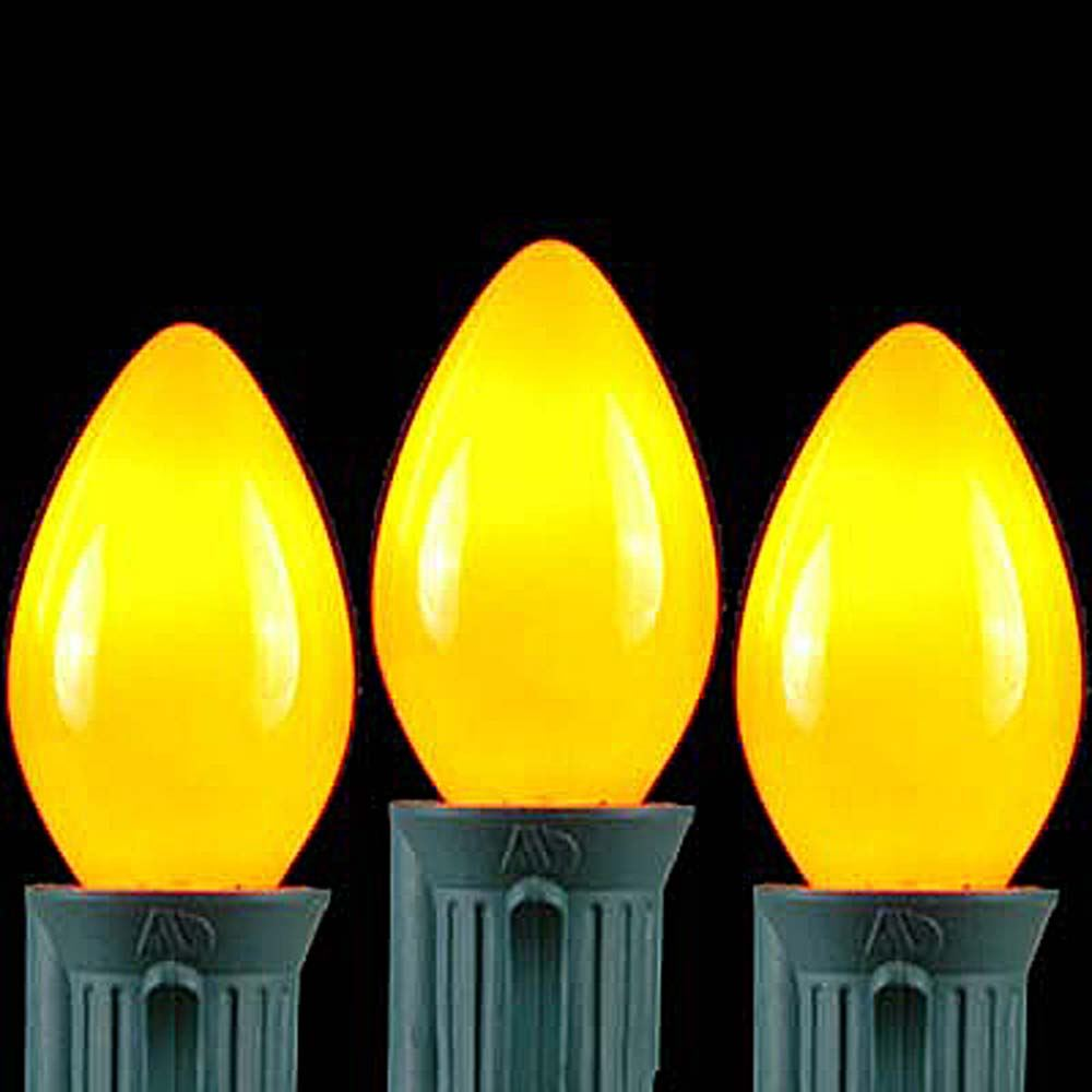 Picture of Yellow Ceramic C7 5 Watt Replacement Bulbs 25 Pack