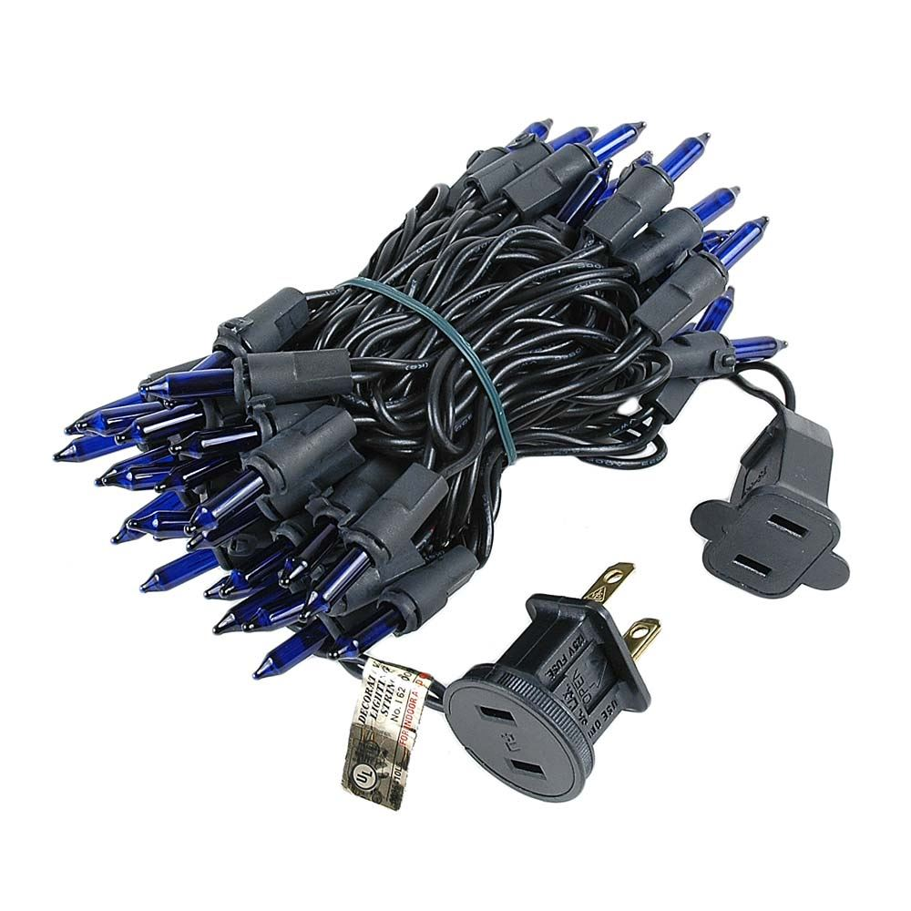 Blue Christmas Mini Lights Set 50 Light Black Wire 11 Feet - Novelty ...