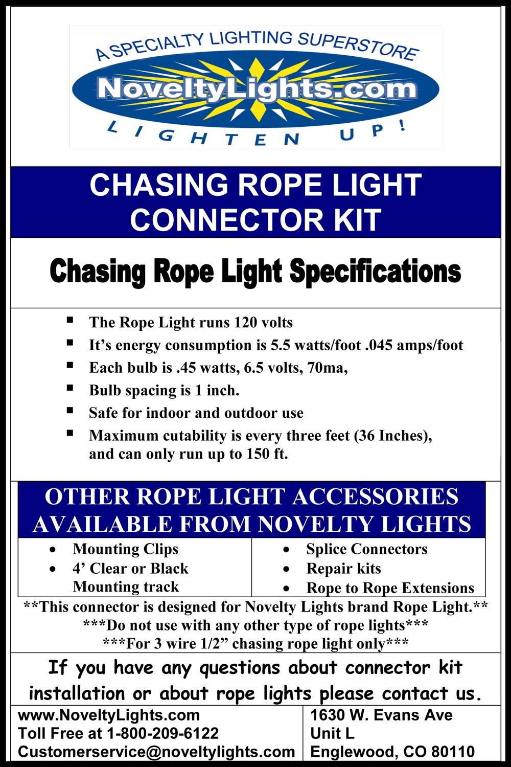Clear 150 Feet Chasing Rope Light Spools 3 Wire 120 Volt