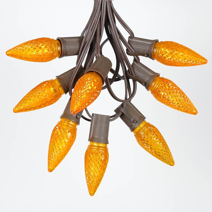 Picture of 25 Light String Set with Amber (Orange) LED C9 Bulbs on Brown Wire