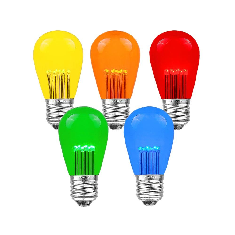 5 pack multi colored led s14 bulbs with 9 led s per bulb novelty