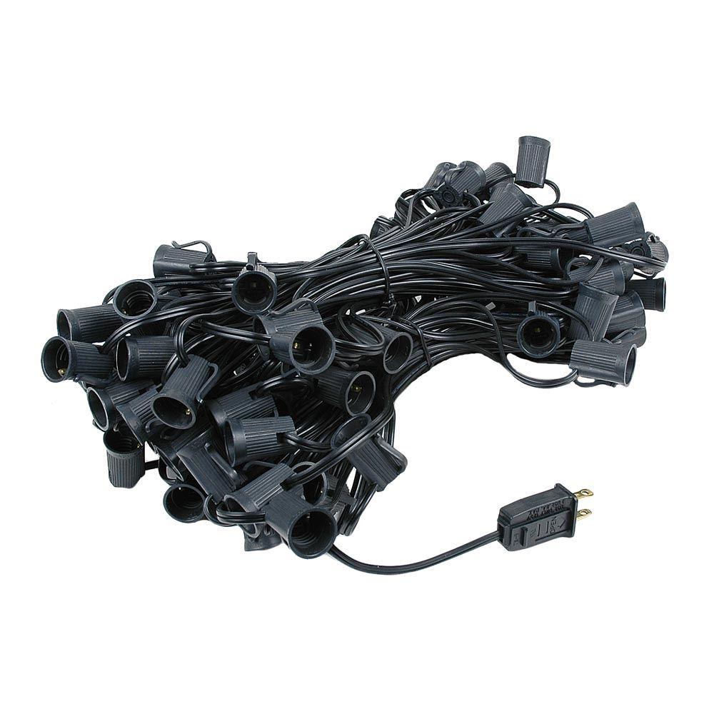 Black Wire C9 Christmas Light Stringers 100\' Long - Novelty Lights