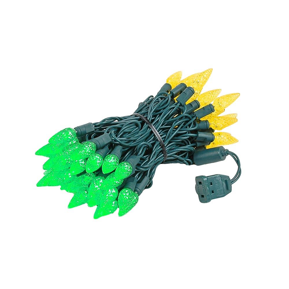 Picture of Green and Yellow 70 LED C6 Strawberry Mini Lights Commercial Grade
