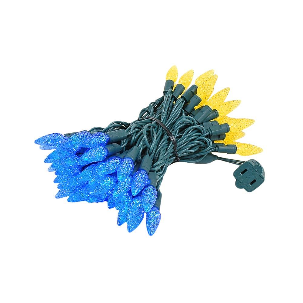 Picture of Yellow and Blue 70 LED C6 Strawberry Mini Lights Commercial Grade