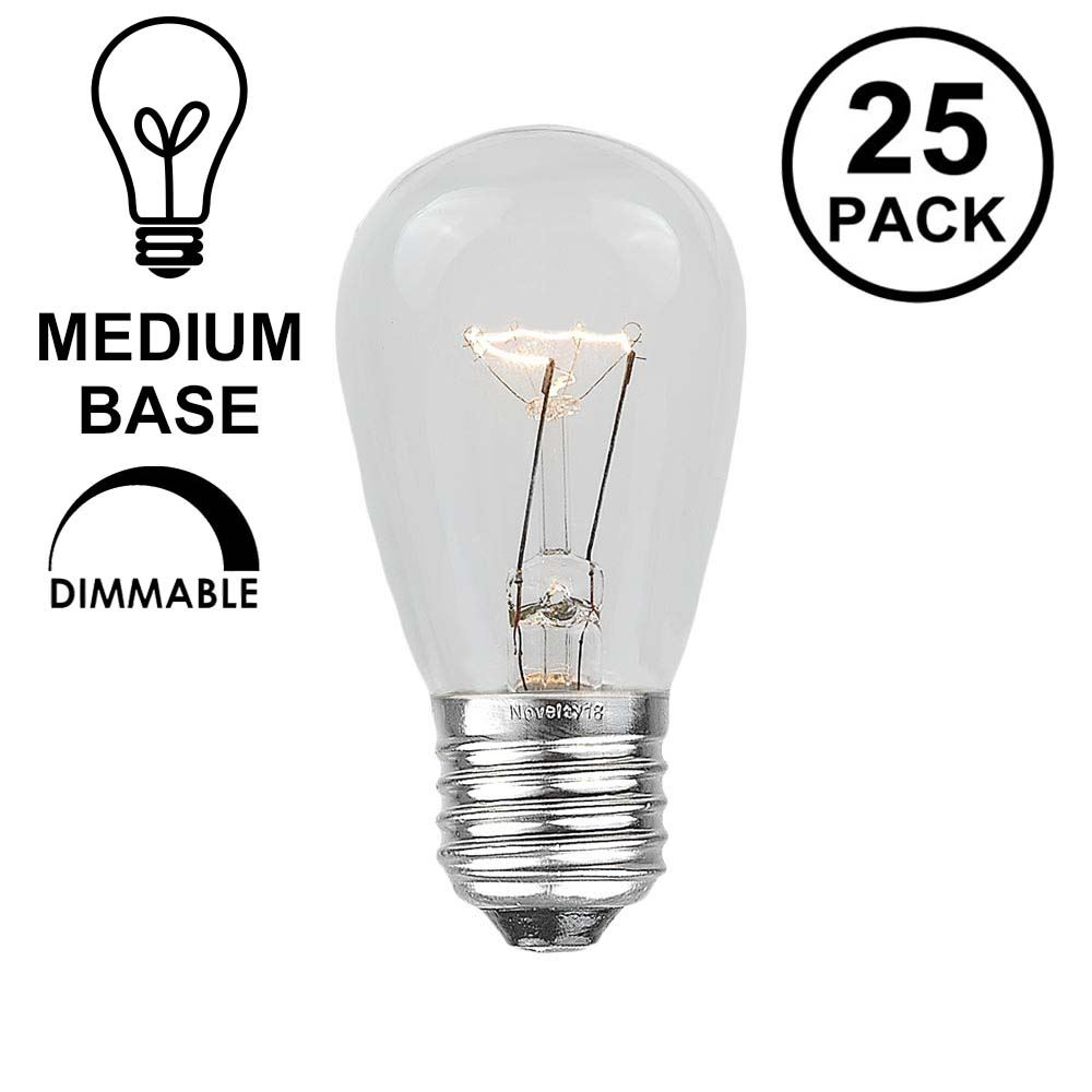 Picture of 25 Pack of Clear S14 11 Watt Bulbs Medium Base e26