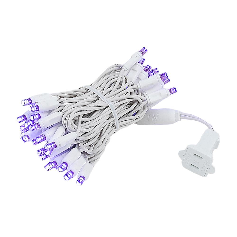 Picture of 50 LED Purple, White Wire LED Christmas Lights 11' Long