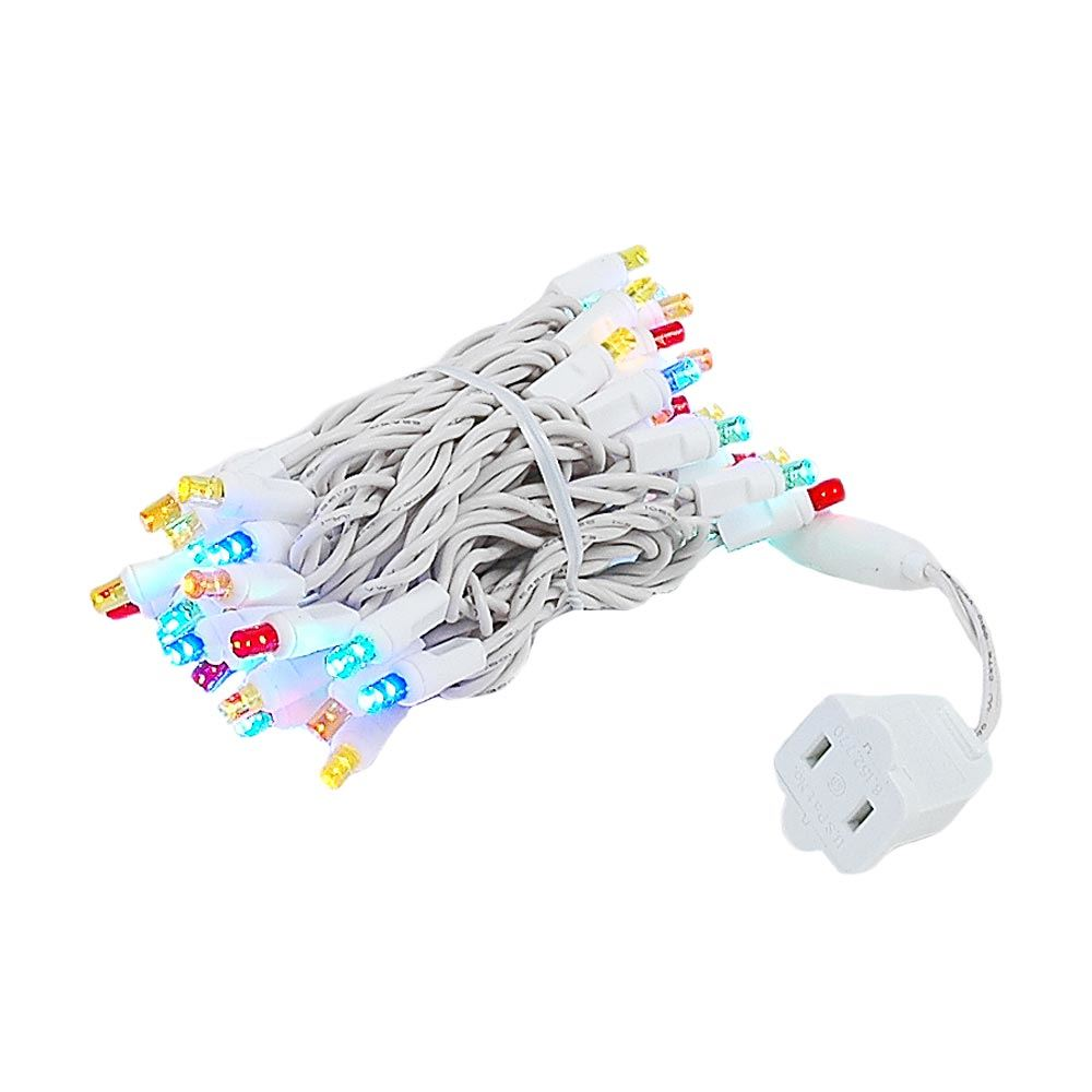 White Wire Wide Angle Assorted Multi Colored 50 Bulb Led Christmas