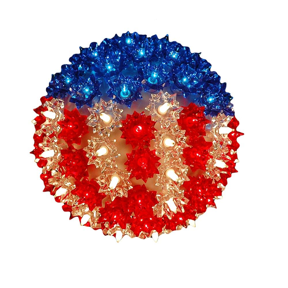 Picture of Red White and Blue Patriotic 100 Light Starlight Sphere 7.5""