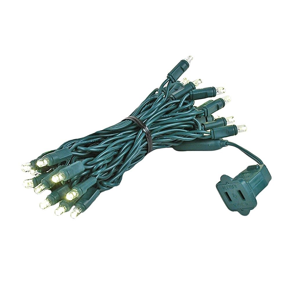 Picture of 35 Light Warm White LED Mini Lights Green Wire