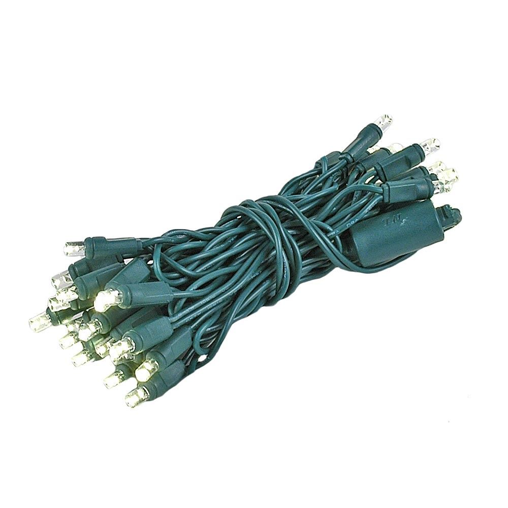 Picture of 35 Light Non Connectable Warm White LED Mini Lights Green Wire