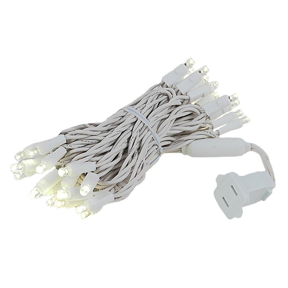 20 Light Warm White LED Christmas Light Set on White Wire- Novelty ...