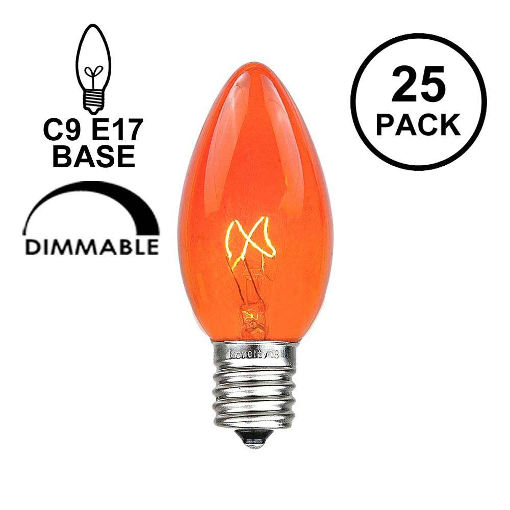 Picture of Amber/Orange Transparent C9 7 Watt Replacement Bulbs 25 Pack