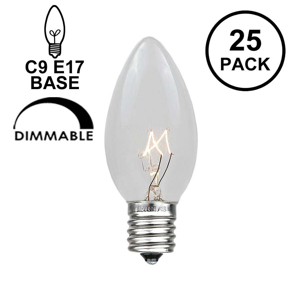 Picture of Clear Transparent C9 7 Watt Replacement Bulbs 25 Pack**On Sale**