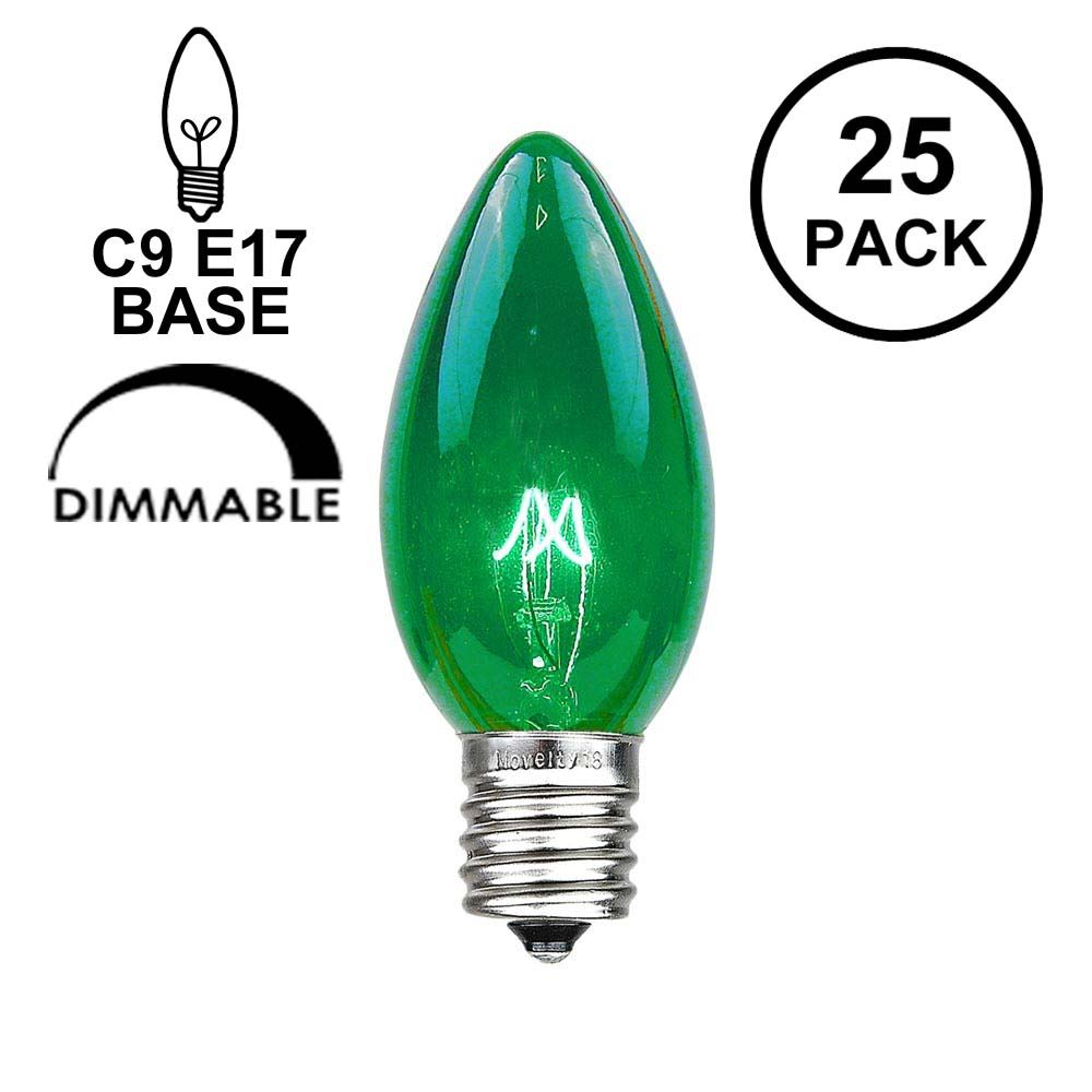 Picture of Green Transparent C9 7 Watt Replacement Bulbs 25 Pack
