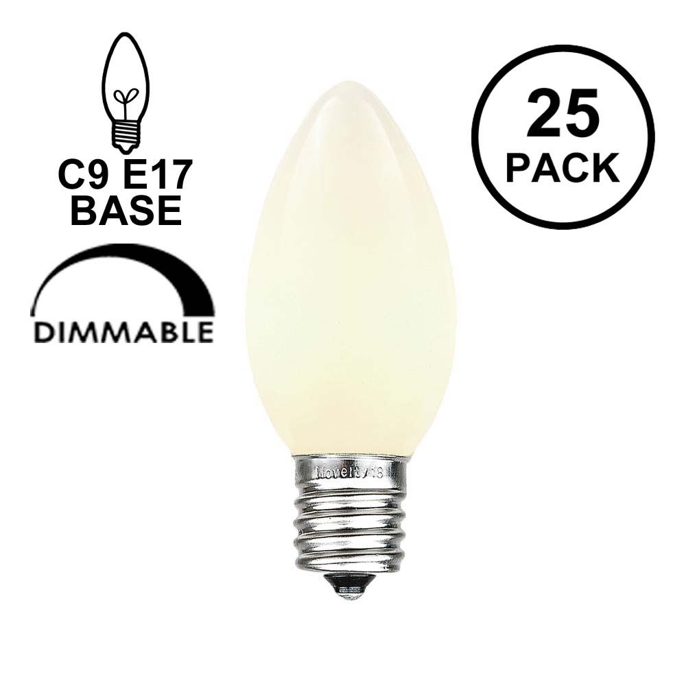 Picture of White Ceramic Opaque C9 7 Watt Bulbs 25 Pack