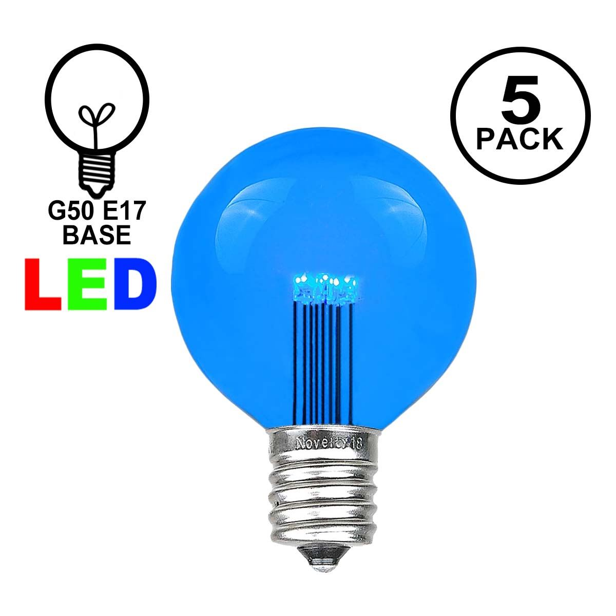 Picture of Blue LED G50 Globe Bulbs - 5pk