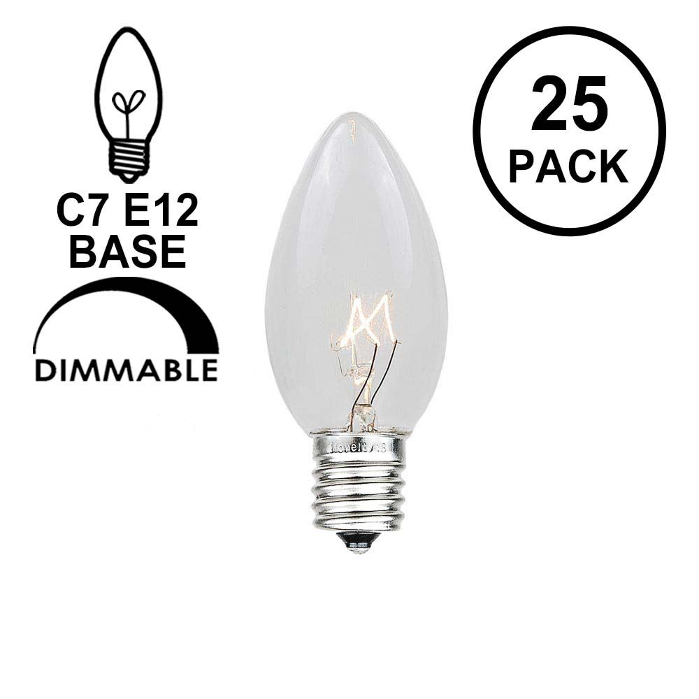 Picture of Clear Transparent C7 5 Watt Bulbs
