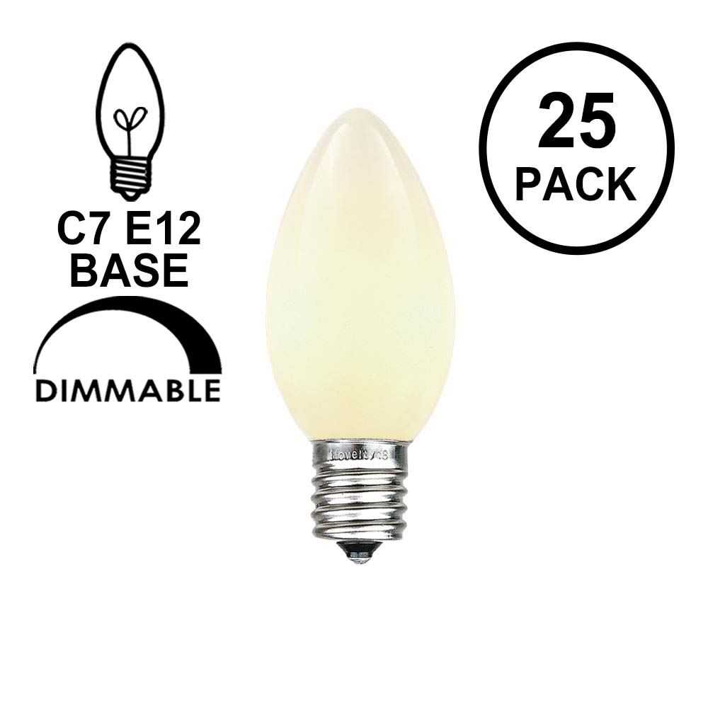 Picture of White Ceramic C7 5 Watt Replacement Bulbs 25 Pack