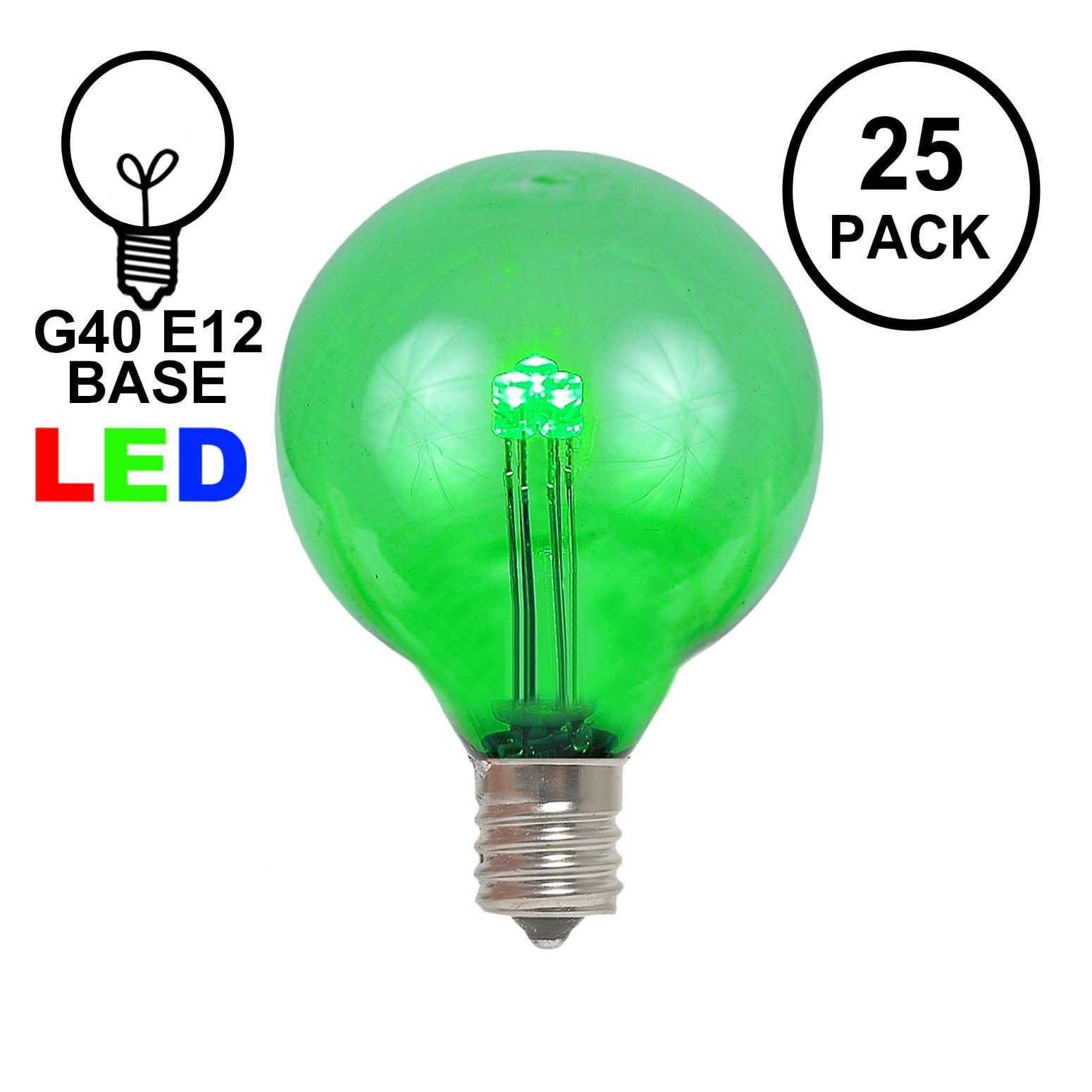Picture of Green - G40 - Glass LED Replacement Bulbs - 25 Pack
