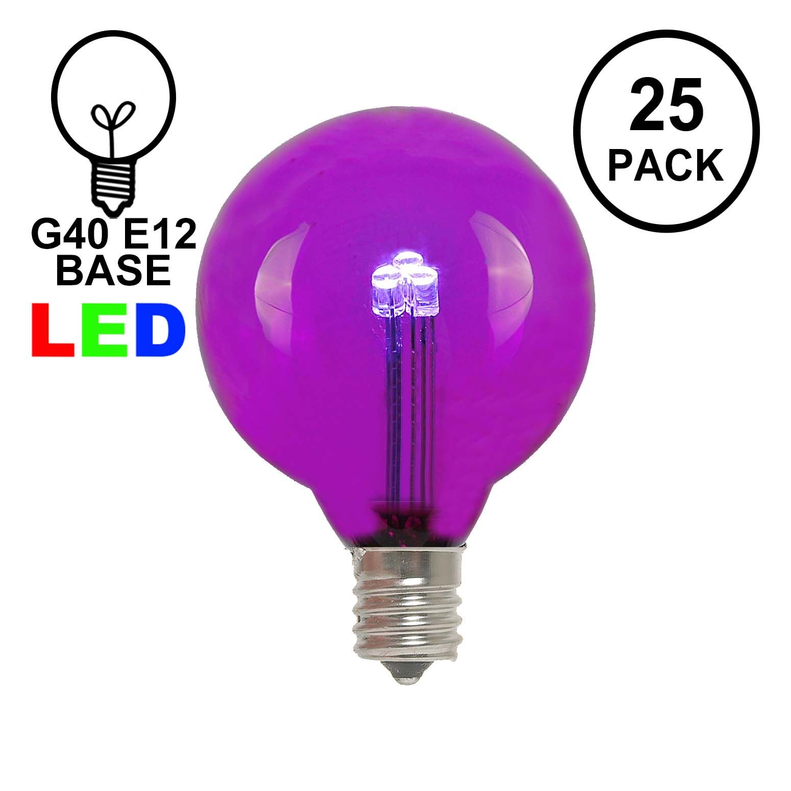 Picture of Purple - G40 - Glass LED Replacement Bulbs - 25 Pack