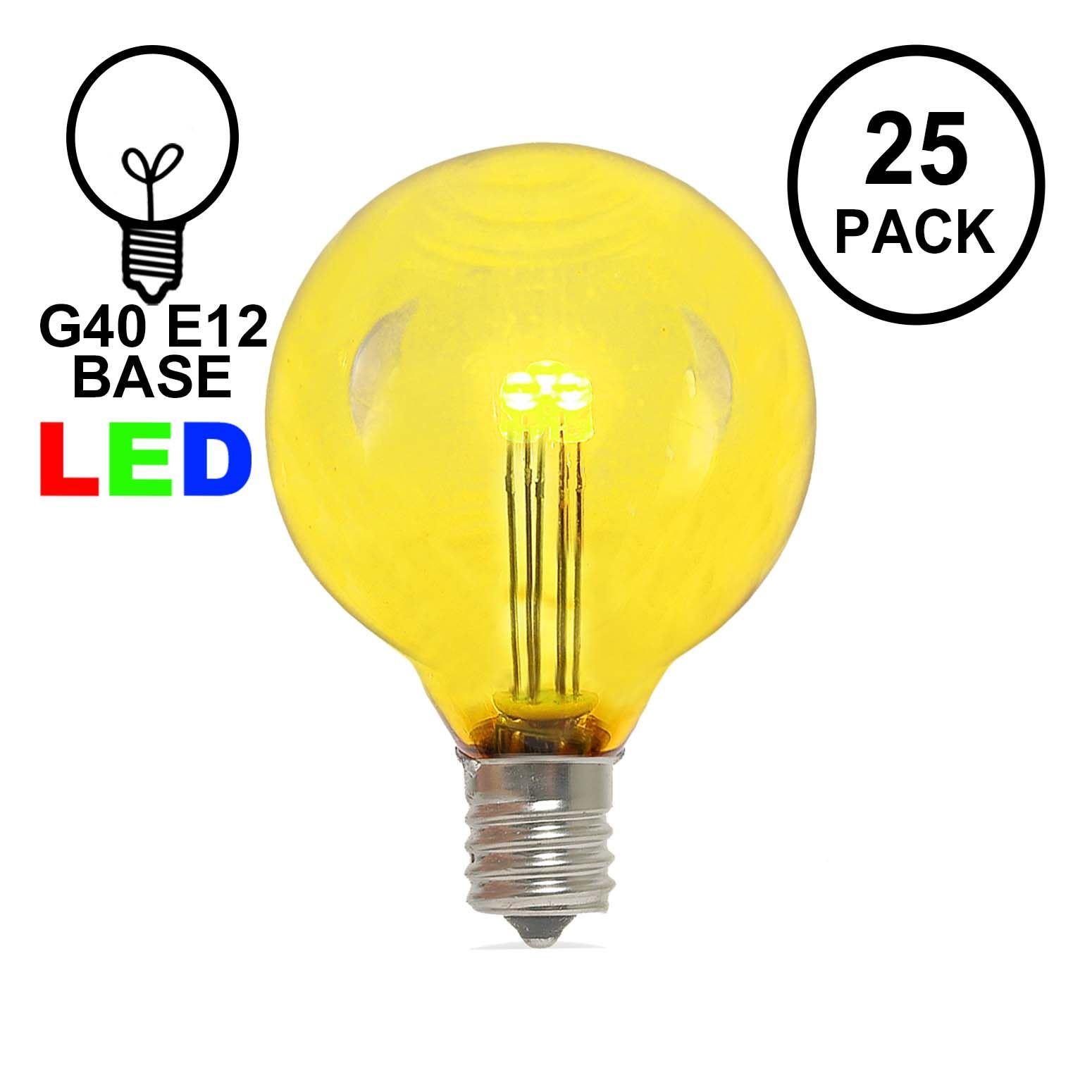 Yellow LED G40 Glass Globe Light Bulbs - Novelty Lights