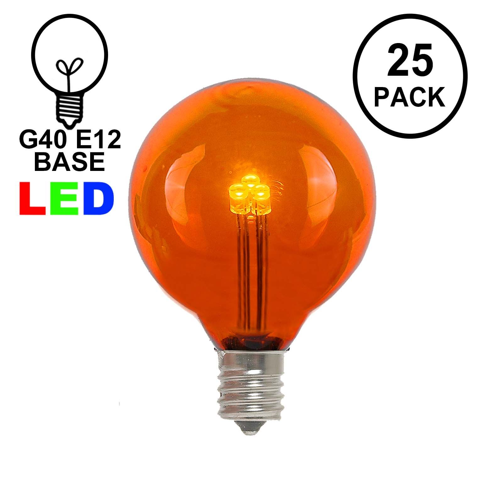 Picture of Orange/Amber- G40 - Glass LED Replacement Bulbs - 25 Pack