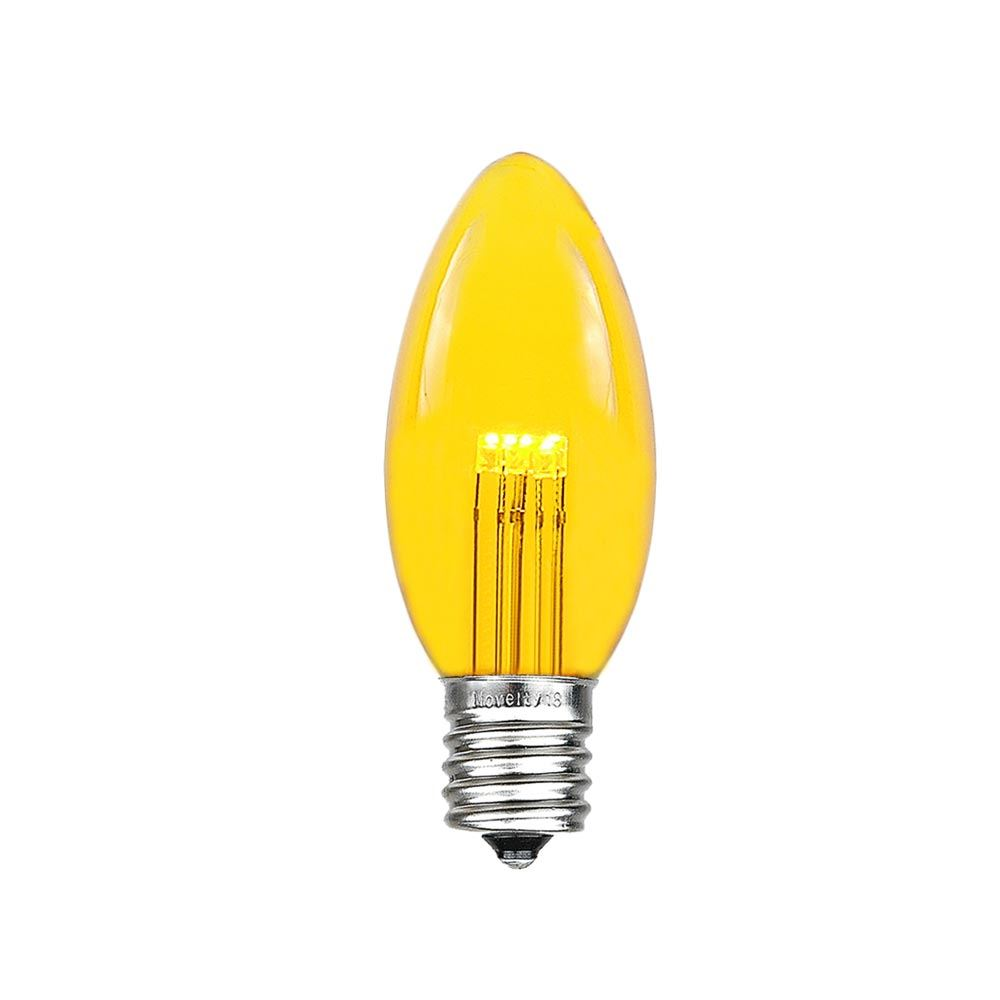 5 Pack Of Yellow Smooth Glass C9 Led Bulbs Novelty