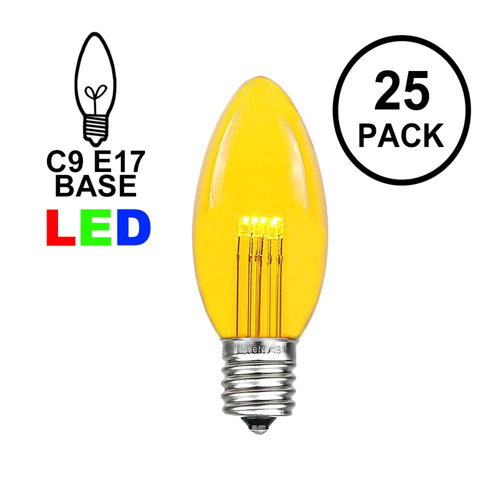 Picture of Yellow Smooth Glass C9 LED Bulbs - 25pk