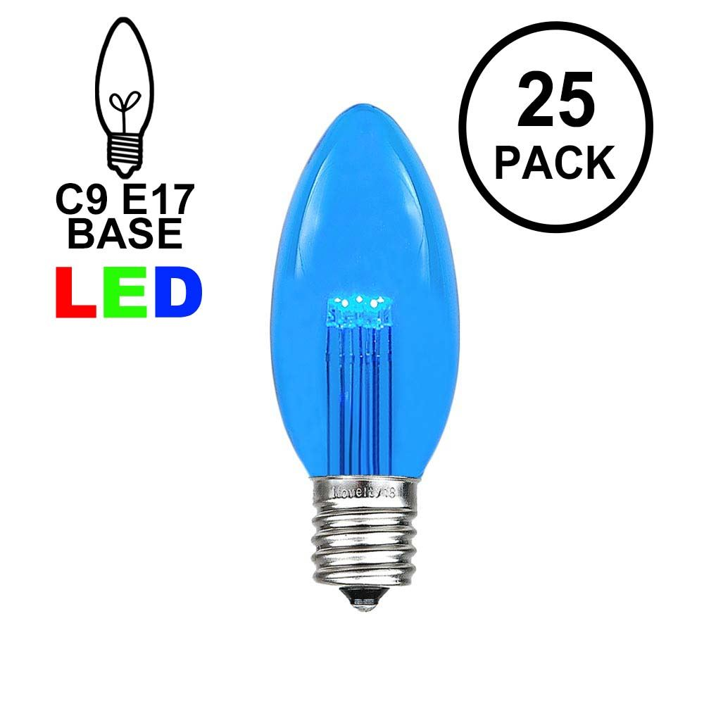 Picture of Blue Smooth Glass C9 LED Bulbs - 25pk