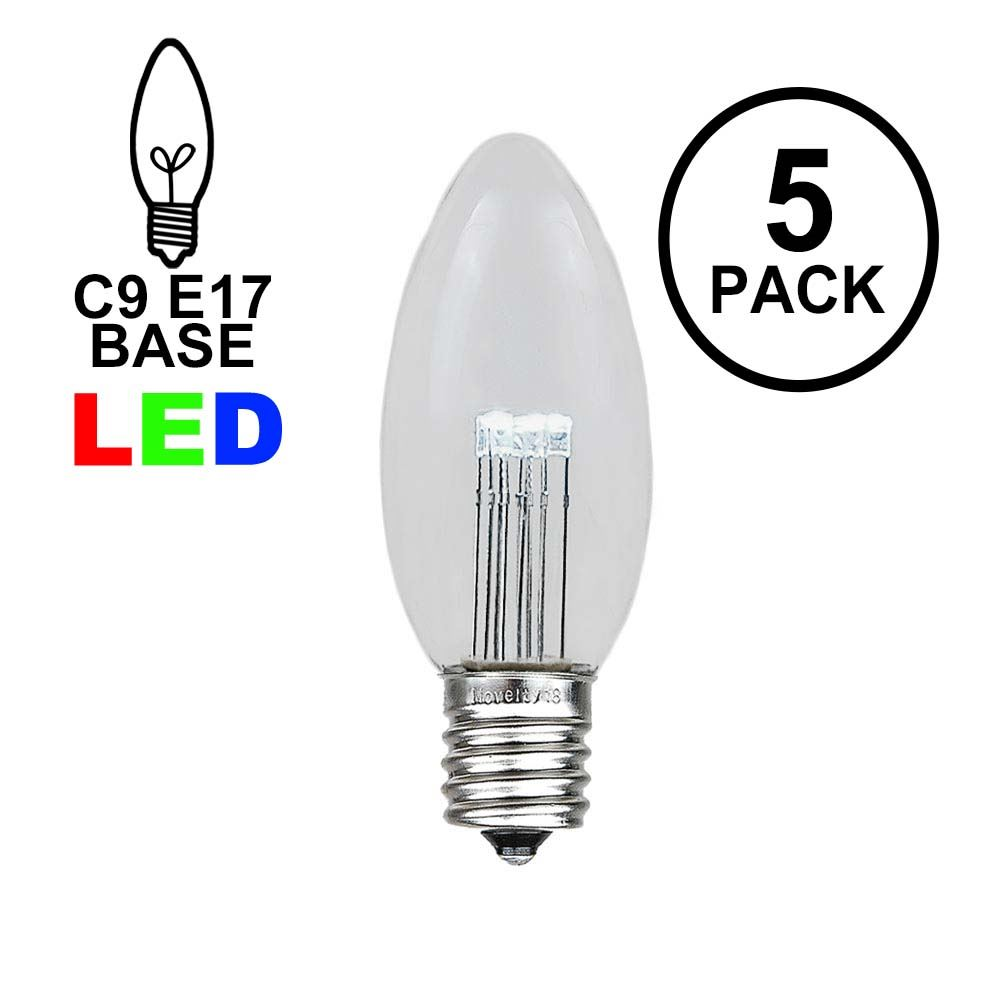 Picture of Pure White Smooth Glass C9 LED Bulbs - 5pk