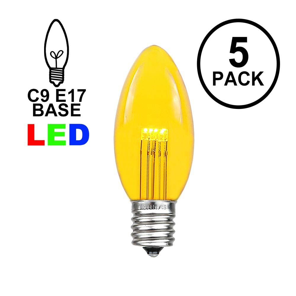 Picture of Yellow Smooth Glass C9 LED Bulbs - 5pk
