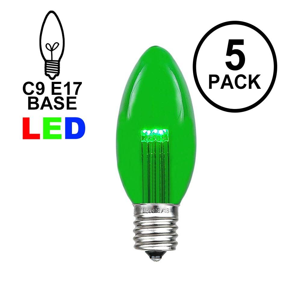 Picture of Green Smooth Glass C9 LED Bulbs - 5pk