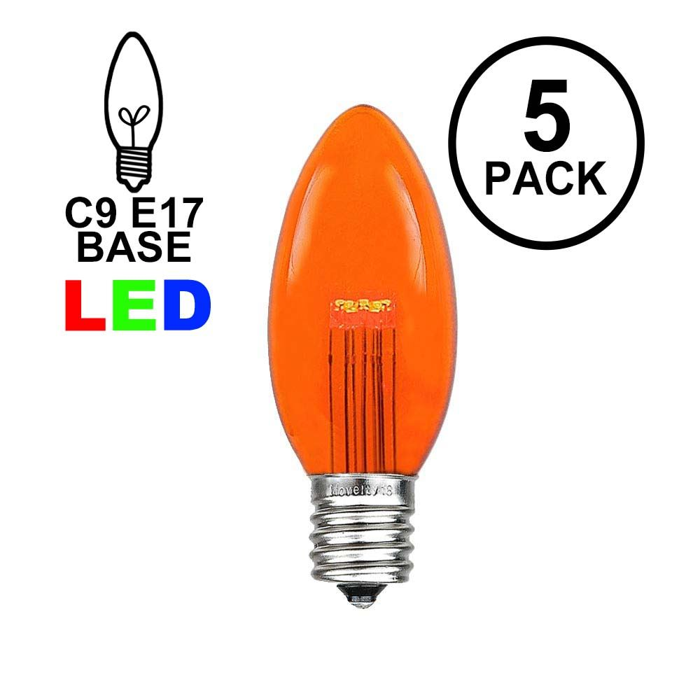 Picture of Amber (Orange) Smooth Glass C9 LED Bulbs - 5pk