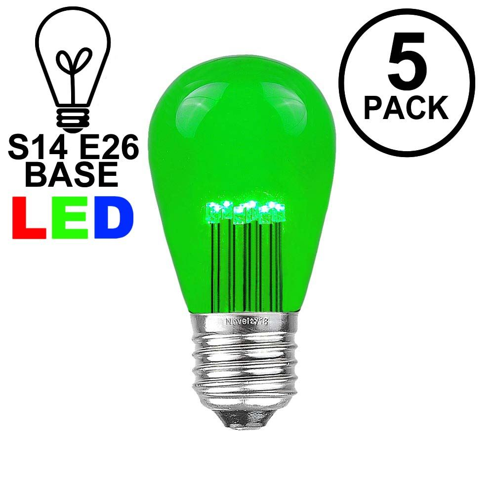 Picture of Green S14 LED Medium Base e26 Bulbs w/ 9 LEDs - 5pk