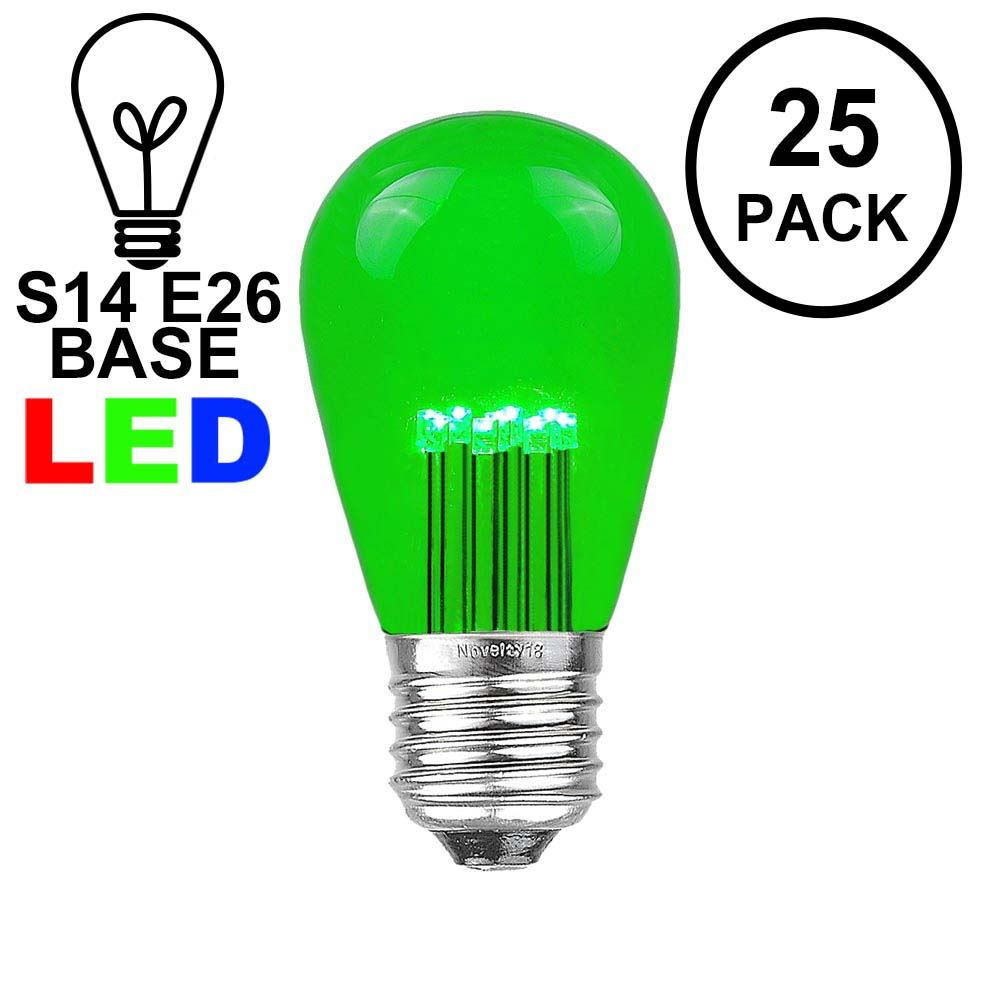 Picture of Green S14 LED Medium Base e26 Bulbs w/ 9 LEDs - 25pk