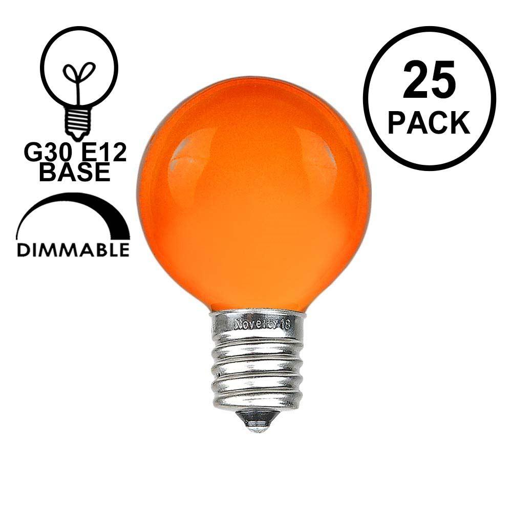Picture of Orange Satin G30 5 Watt Replacement Bulbs 25 Pack