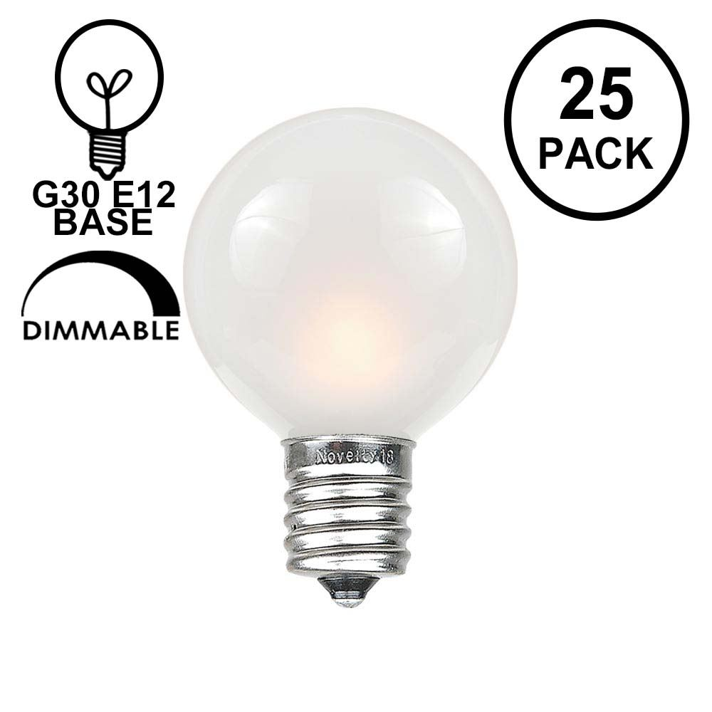 Picture of Frosted White G30 5 Watt Replacement Bulbs 25 Pack