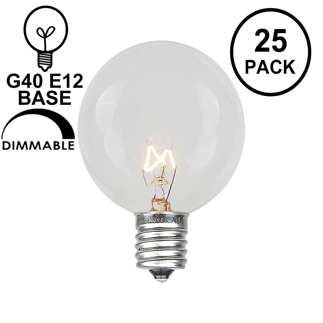 Picture of Clear G40 Globe Replacement Bulbs 25 Pack