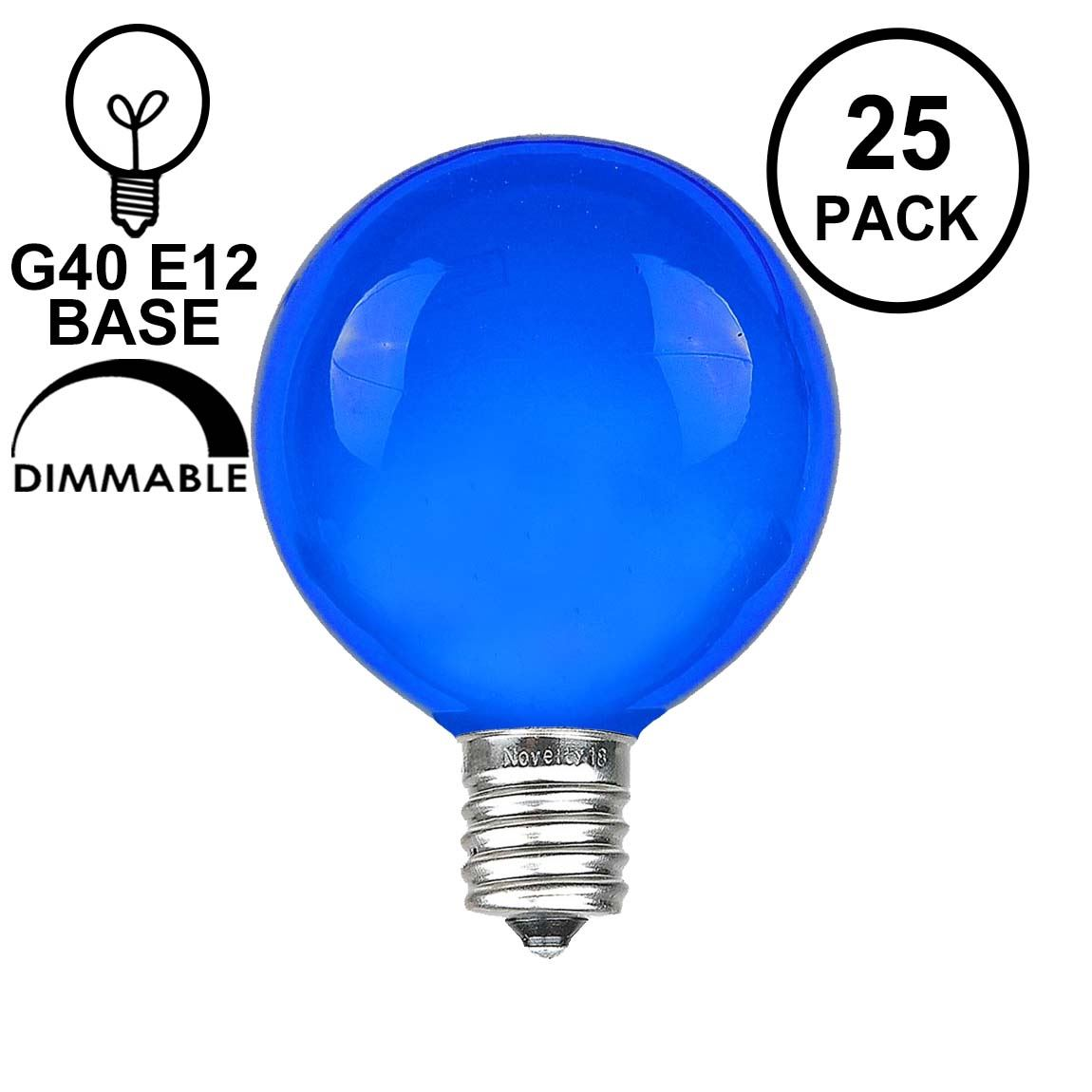 Picture of Blue Satin G40 Globe Replacement Bulbs 25 Pack