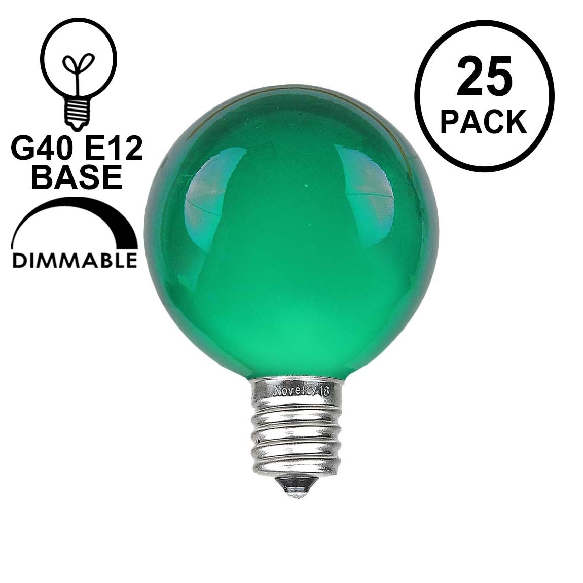 Picture of Green Satin G40 Globe Replacement Bulbs 25 Pack