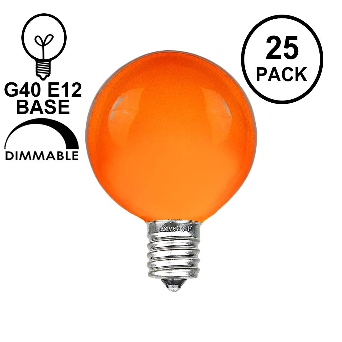 Picture of Orange G40 Globe Replacement Bulbs 25 Pack