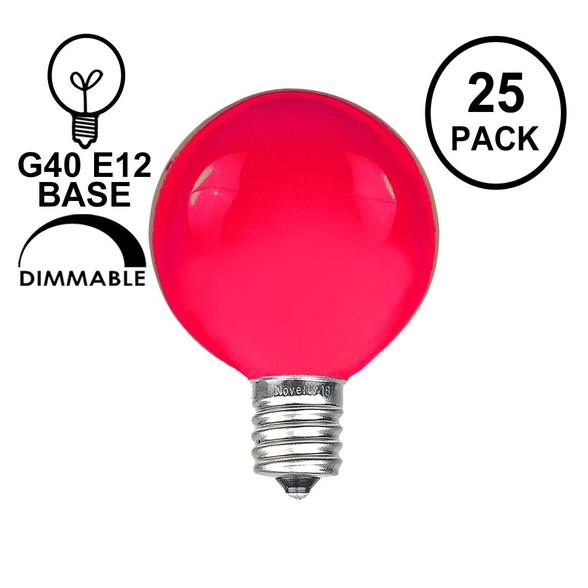 Picture of Pink Satin G40 Globe Replacement Bulbs 25 Pack