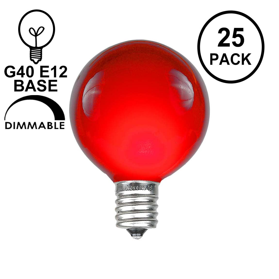 Picture of Red Satin G40 Globe Replacement Bulbs 25 Pack