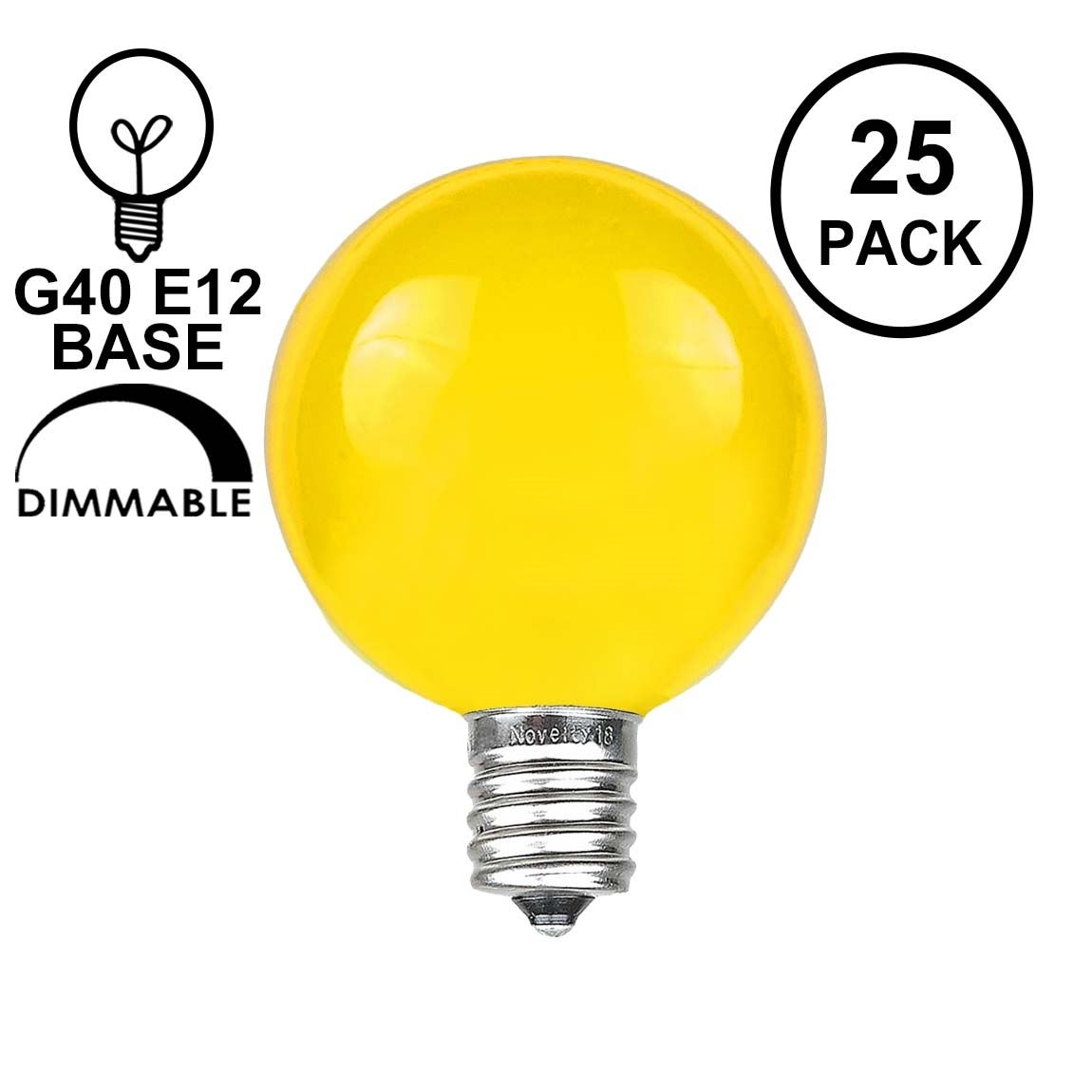 Picture of Yellow Satin G40 Globe Replacement Bulbs 25 Pack