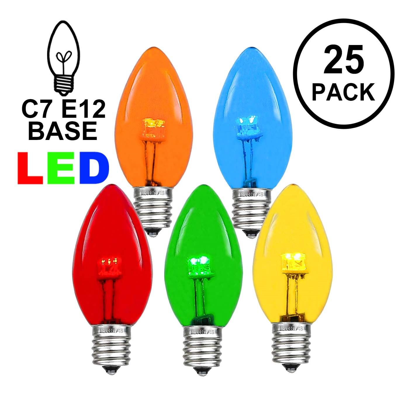 Picture of C7 - Multi Colored - Glass LED Replacement Bulbs - 25 Pack