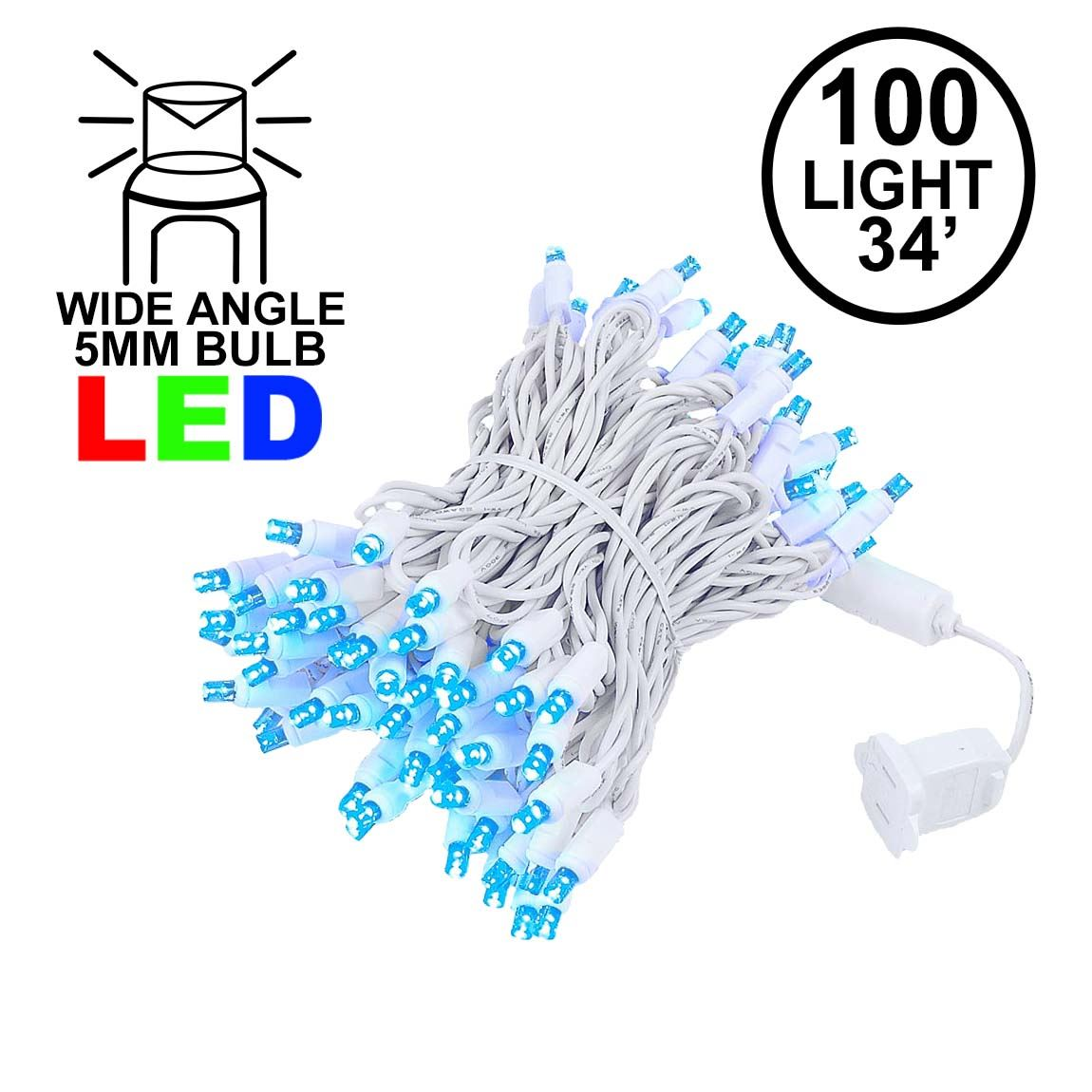 Picture of Commercial Grade Wide Angle 100 LED Blue 34' Long White Wire