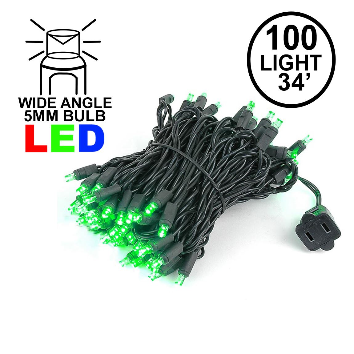 Picture of Commercial Grade Wide Angle 100 LED Green 34' Long Black Wire