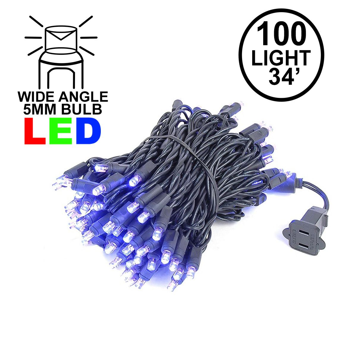 Picture of Commercial Grade Wide Angle 100 LED Purple 34' Long Black Wire
